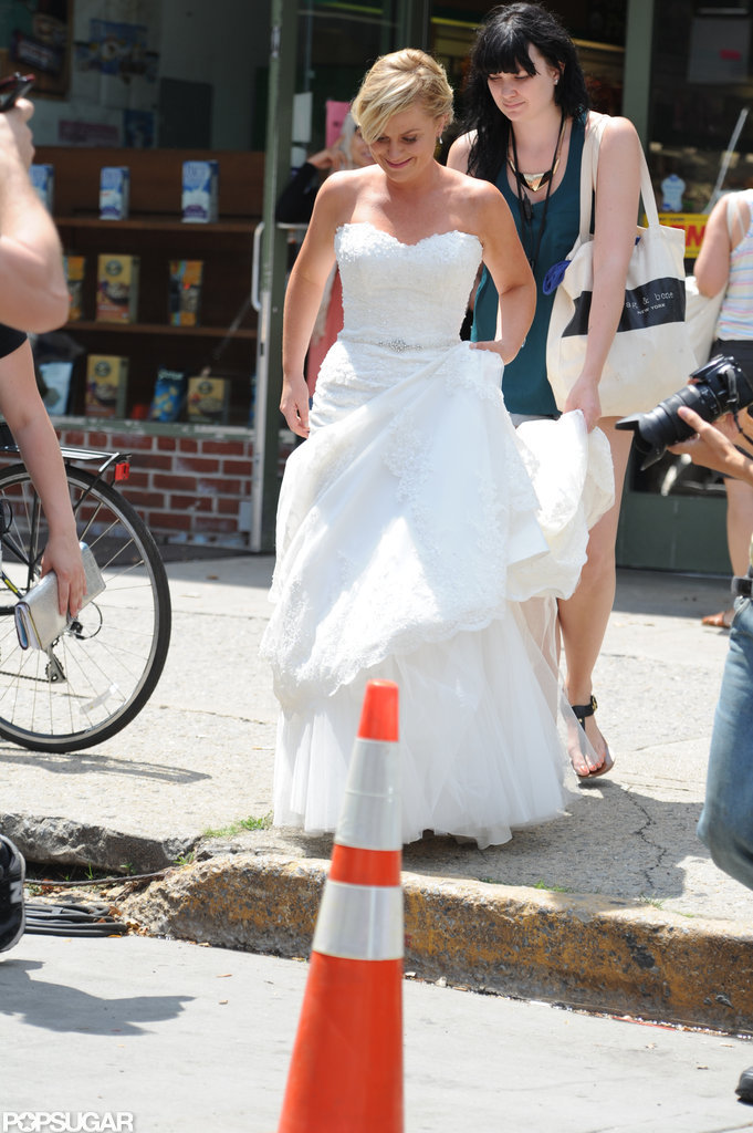 Amy Poehler on set in NYC.