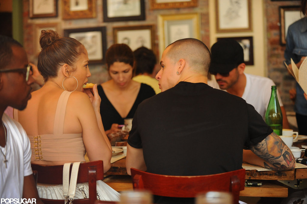 Jennifer Lopez and Casper Smart sat at a table together in NYC.