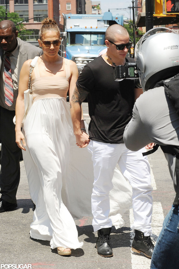 Jennifer Lopez and Casper Smart walked hand in hand.