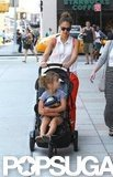 Jessica Alba pushed Honor in a stroller.