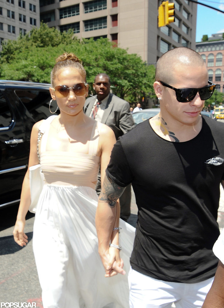 Jennifer Lopez and Casper Smart went to lunch together for her birthday in NYC.