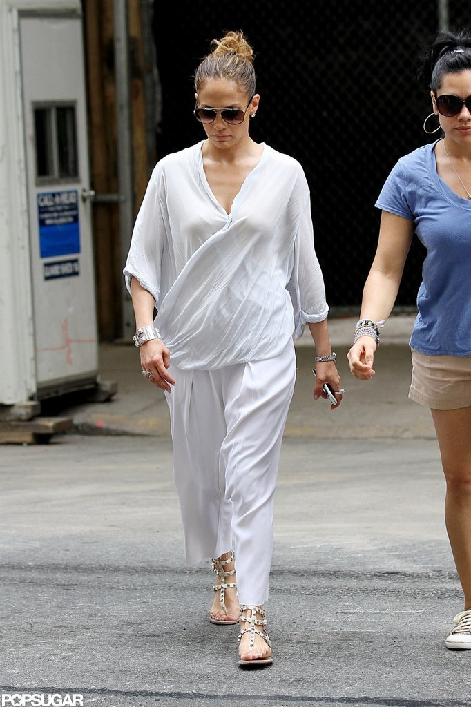 Jennifer Lopez donned a white jumpsuit for a stroll around NYC.
