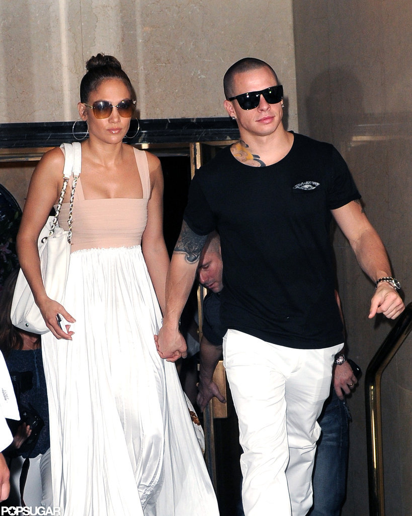 Jennifer Lopez and Casper Smart left her birthday lunch in NYC.