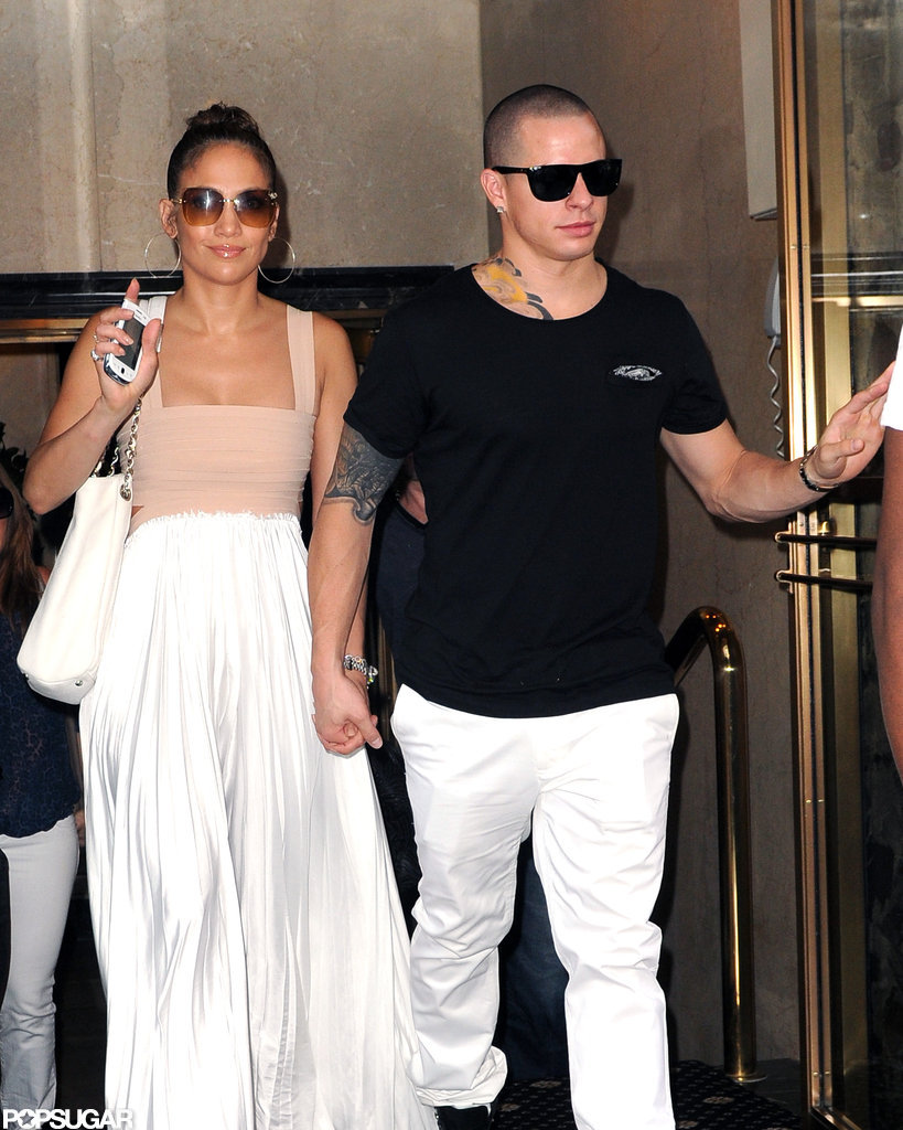 Jennifer Lopez gave a wave leaving her birthday lunch.