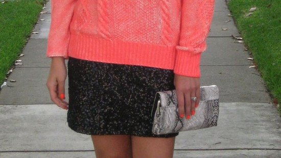 H&M Neon Sweater. Express Sequin Miniskirt