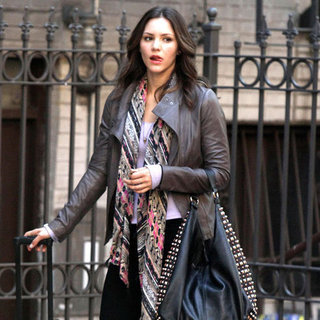 Katharine McPhee Wearing Leather Jacket on Smash Set