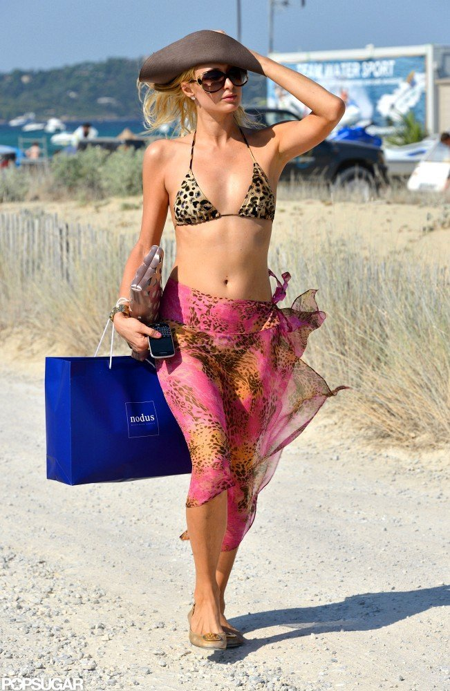 Paris Hilton modeled a leopard bikini.