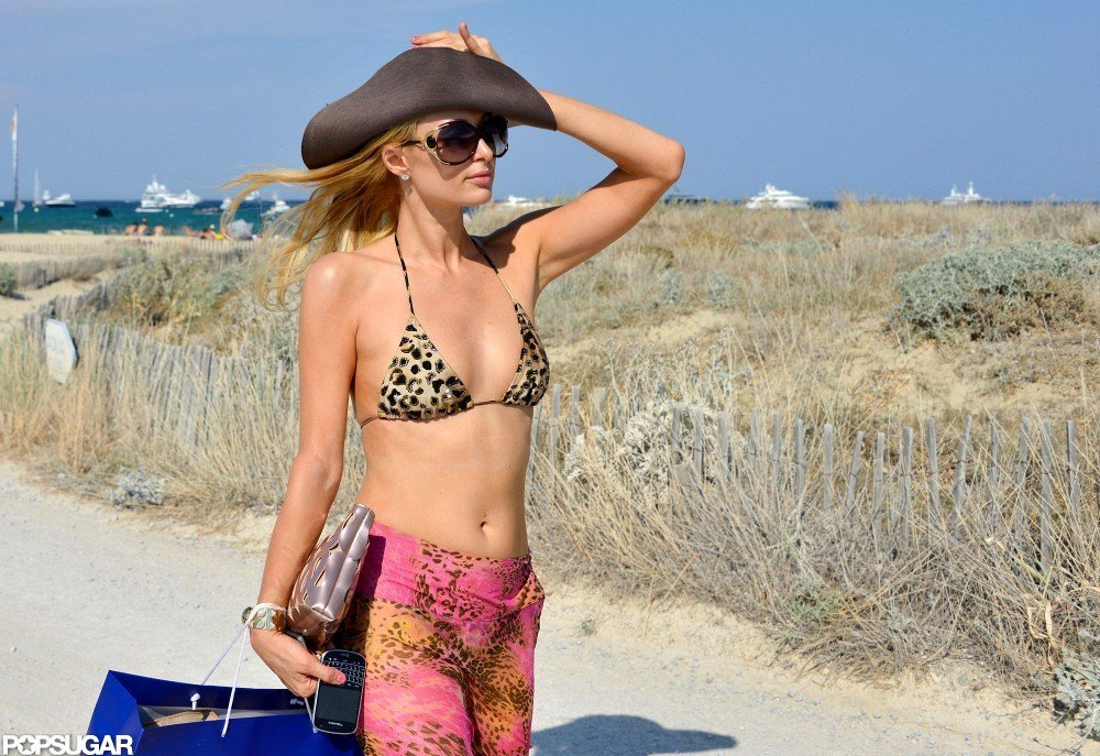 Paris Hilton covered up with a colorful sarong.
