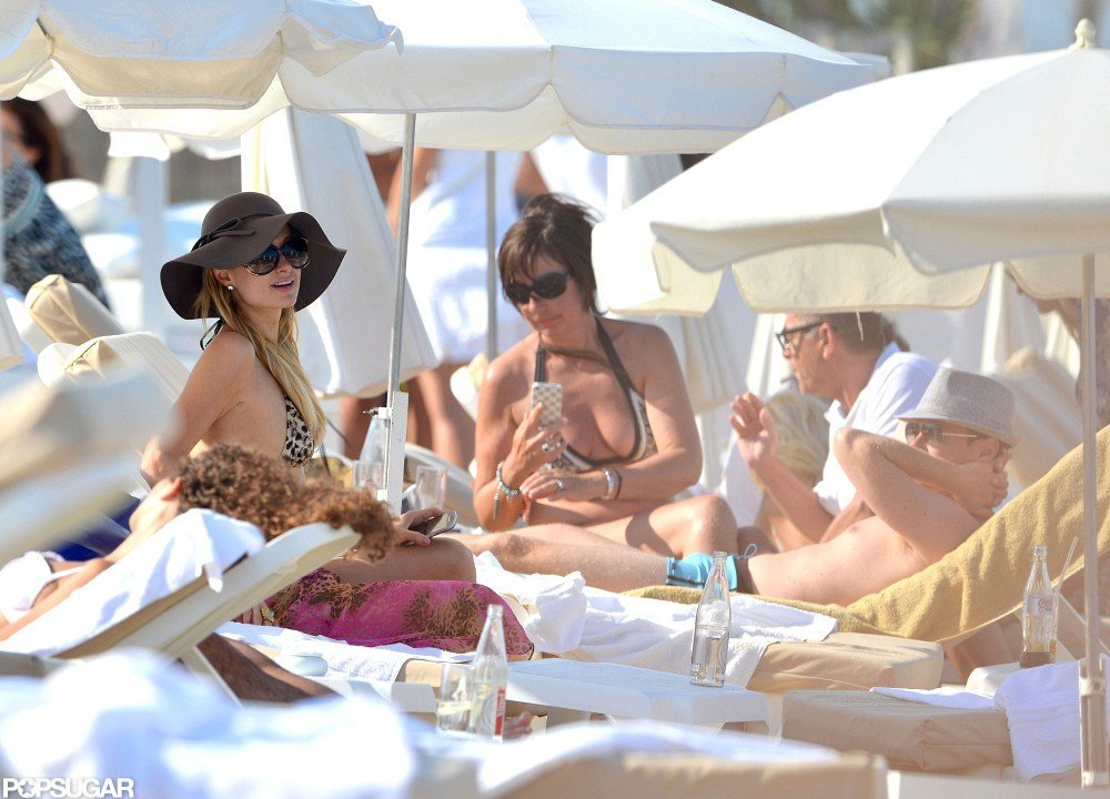 Paris Hilton met up with friends on the beach.
