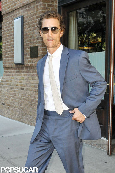 Matthew McConaughey left his hotel in NYC.