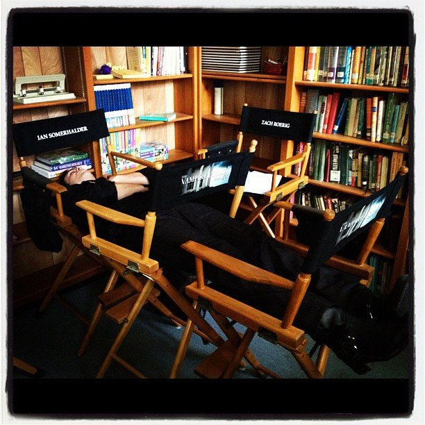 Michael Trevino snapped a photo of a sleeping Ian Somerhalder on the set of The Vampire Diaries. Source: Instagram user michael_trevino