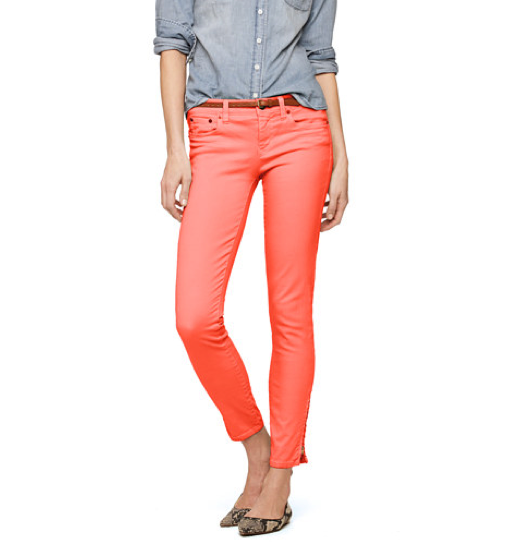 The bright hue paired with a slick ankle-zip detail makes these a no-brainer. J.Crew Garment-Dyed Ankle-Zip Toothpick Jean ($70, originally $125)