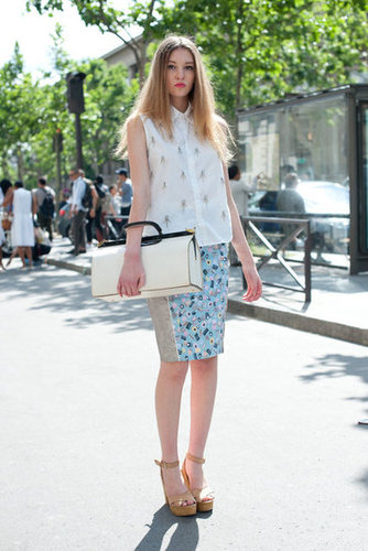 Add an oversize satchel to up the ante on a blouse and skirt.
