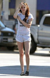 Kristen Stewart out in LA wearing Adidas shirt.