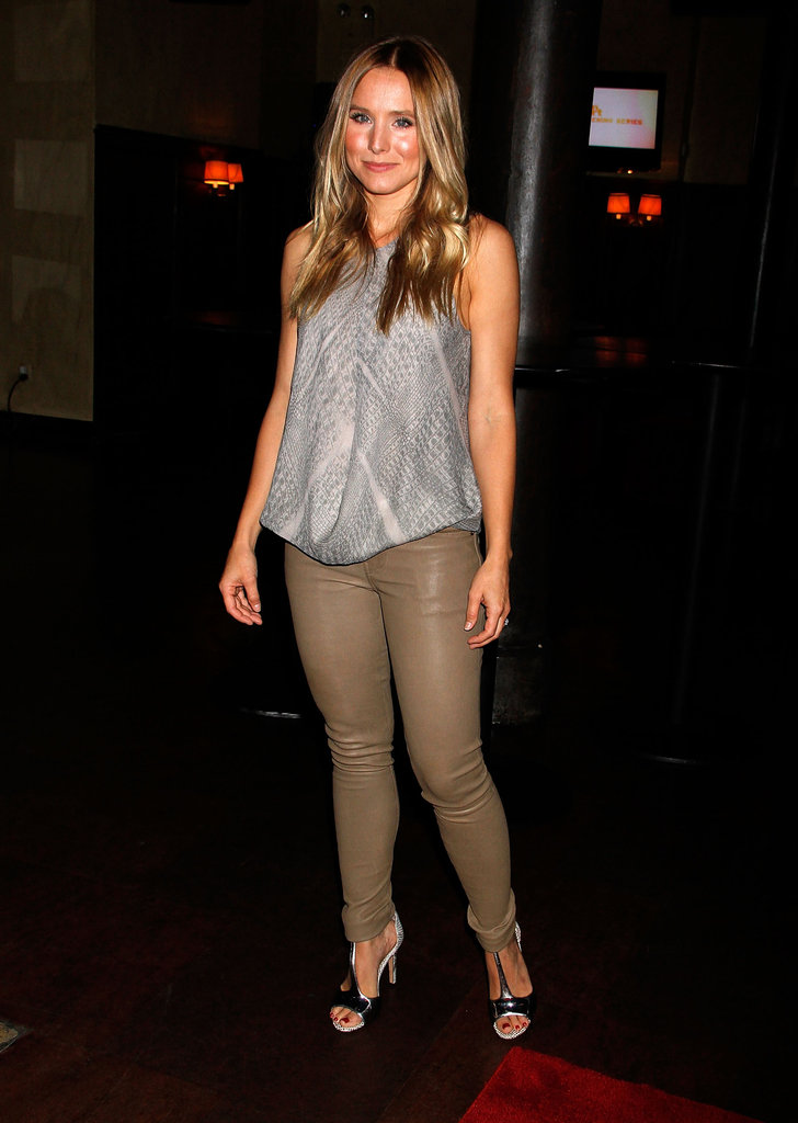 Kristen Bell wore leather pants to the Hit and Run screening in NYC.