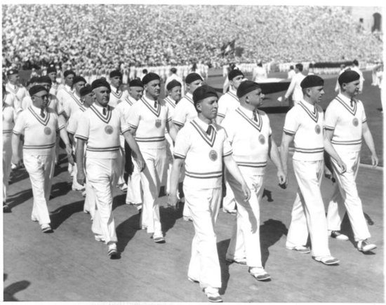 The 1932 Olympic games featured a polo-inspired uniform, complete with black berets, at the opening ceremony.