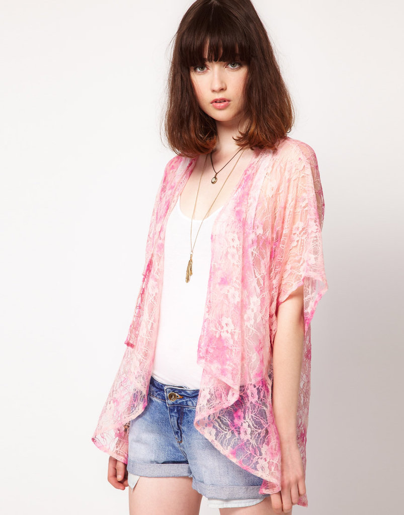 This semi-sheer kimono jacket will inject a fun pop of texture to a casual concert-going outfit.  Band of Gypsies Lace Kimono Jacket in Tie Dye ($35)