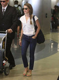Keri Russell made her way through the airport.