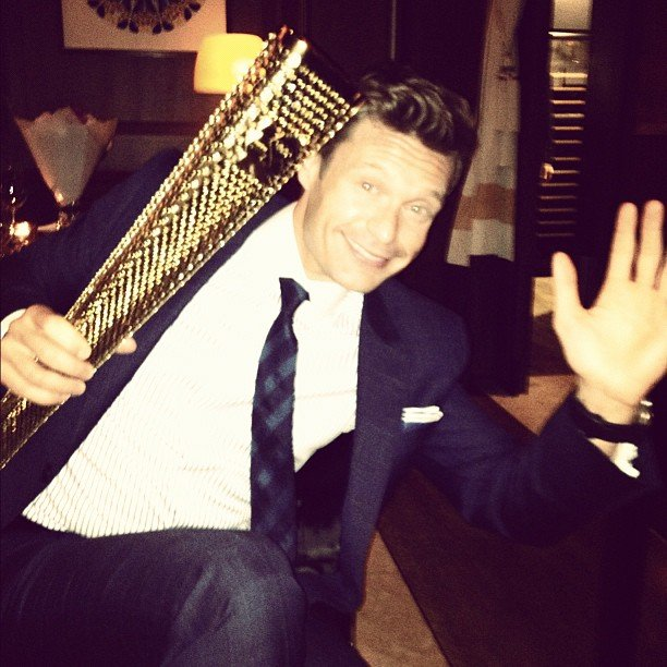 Ryan Seacrest readied himself for tonight's torch relay into Olympic Stadium. Source: Instagram user ryanseacrest