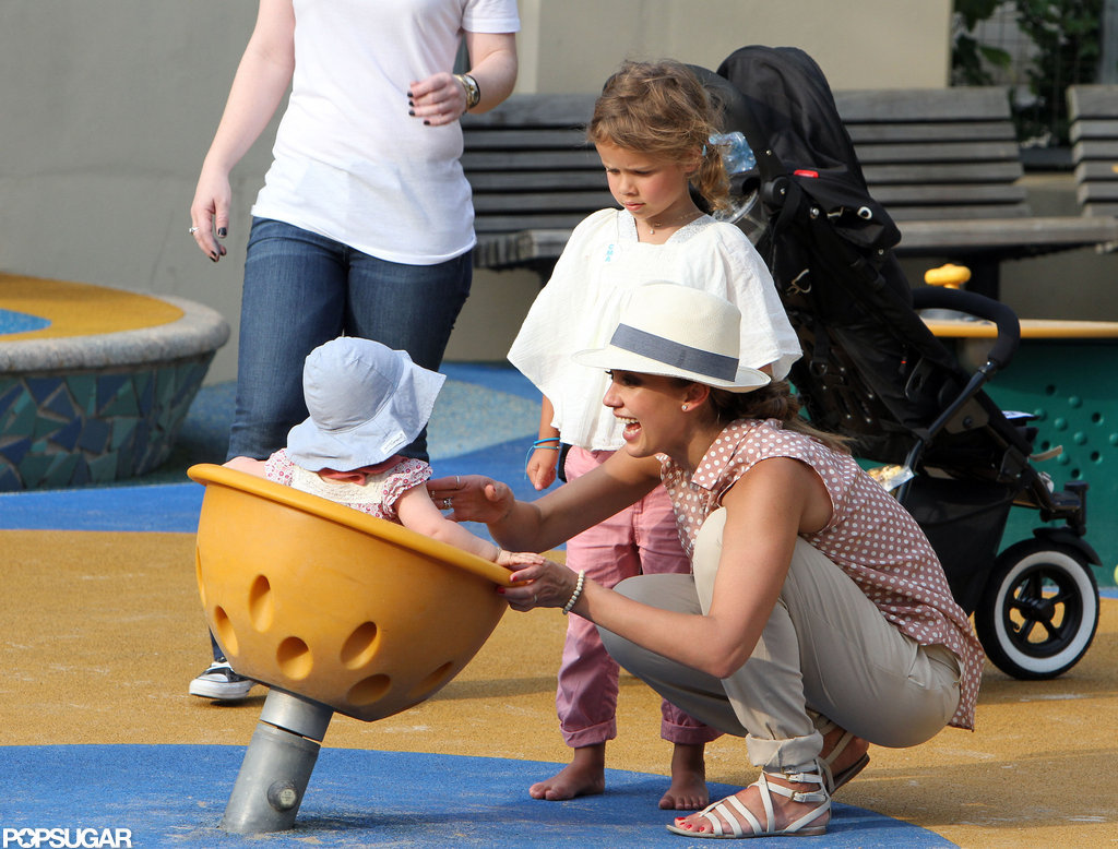 Jessica Alba and Honor Warren played with Haven Warren on the playground in NYC.