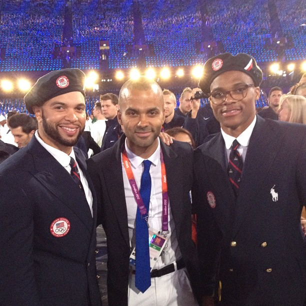 Deron Williams posed with Tony Parker and Russell Westbrook at the Olympics opening ceremony. Source: Instagram user dwill8