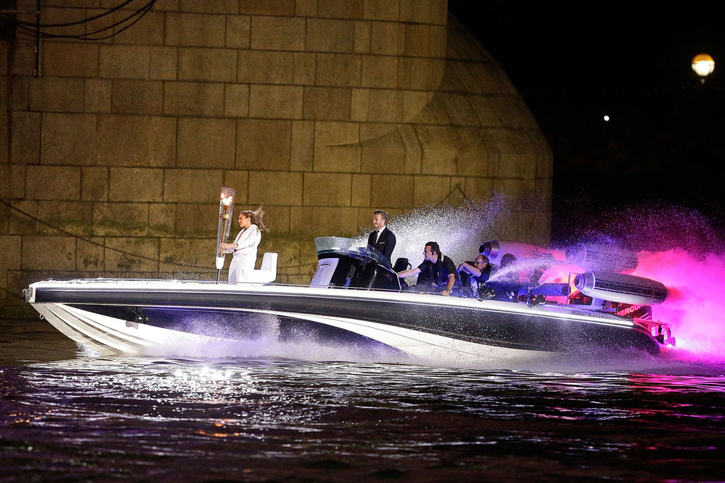 David Beckham Drives the Torch Into the Olympic Opening Ceremony!