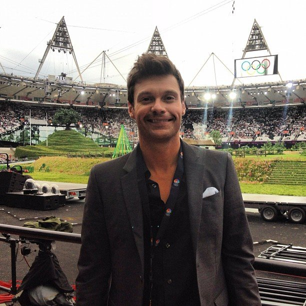 Ryan Seacrest found his seat inside Olympic Stadium. Source: Instagram User ryanseacrest