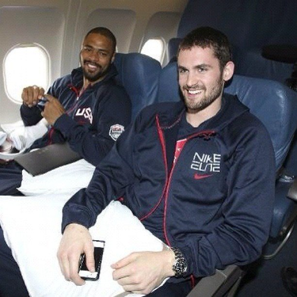 The USA men's basketball team took off for London two days ago.  Source: Instagram user kevinlove7
