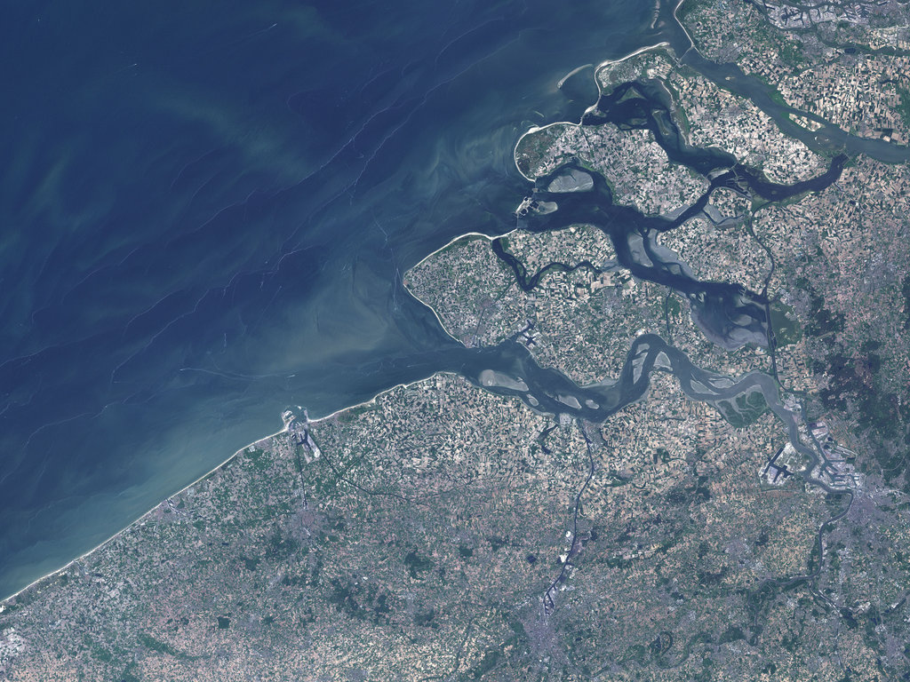Antwerp, Belgium, as seen from space along its many waterways.
