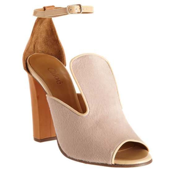 The pony-hair finish gives this peep-toe sandal a luxuriously feminine touch. Chloé Pony-Hair Peep-Toe Sandal ($695)