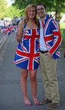 A couple matched in their Union Jack duds in Bath, England.
