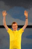 Bradley Wiggins, the first British winner of Tour De France race, waved to the audience.