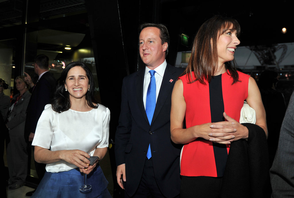 Prime Minister David Cameron and his wife, Samantha, walked with Marina Wheeler.