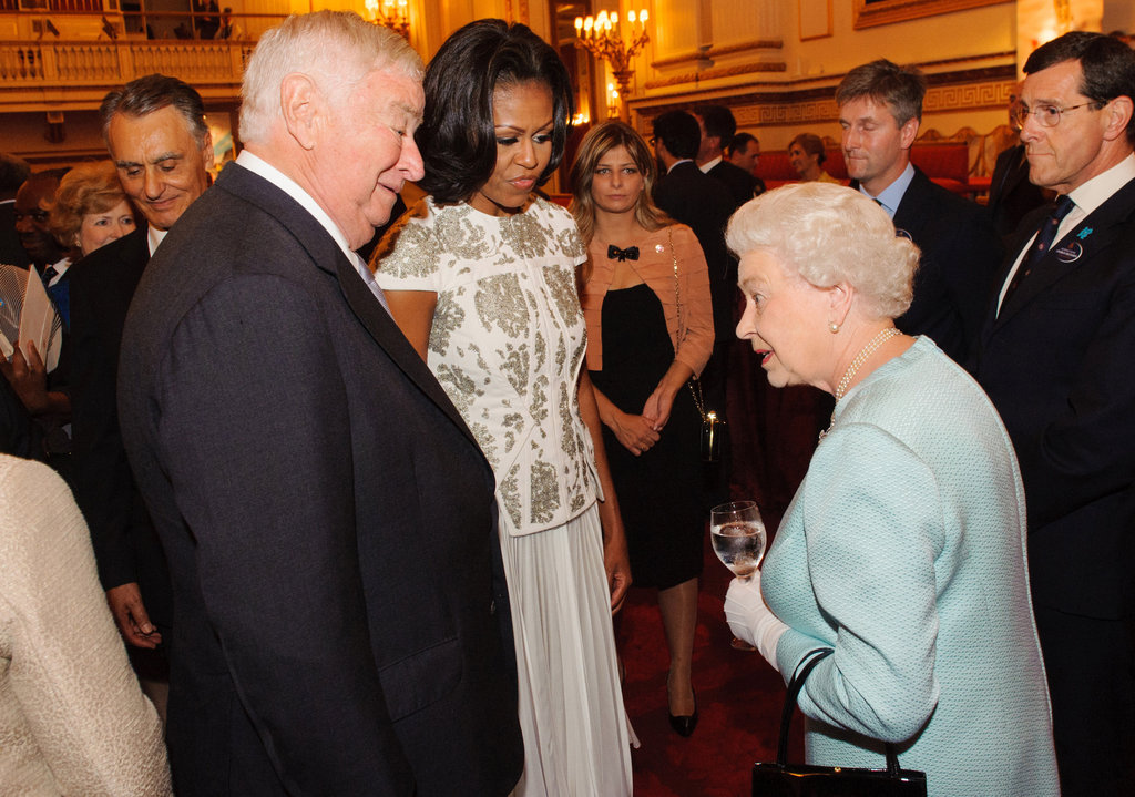 First Lady Michelle Obama spoke with Queen Elizabeth during the reception at Buckingham Palace.