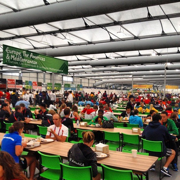 "Eamon Sullivan shared his view of the busy mess hall filled with ""hungry hungry athletes."" Source: Instagram user eamon_sullivan"