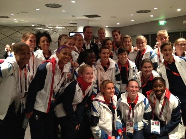 Members of Great Britain's team posed with Prince William. Source: Twitter user karenjcarney
