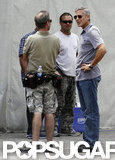 George Clooney chatted with the crew before filming.