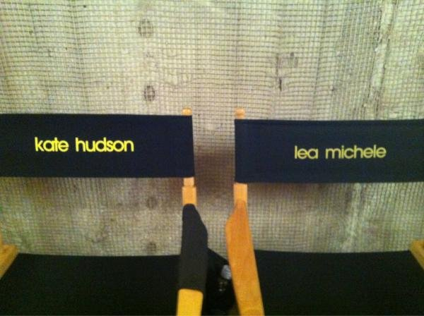 Lea Michele shared a photo of her and Kate's chairs on the set of Glee. Source: Twitter user msleamichele