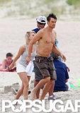Josh Duhamel modeled board shorts.