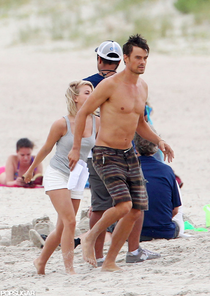 Josh Duhamel modeled board shorts.