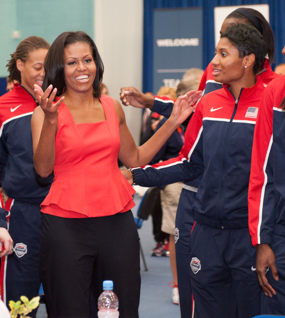 Even the first lady knows that peplum is one of the season's most wearable (and most beloved) silhouette trends — case in point: she wore it to greet members of the USA Olympic team on Friday, July 27.