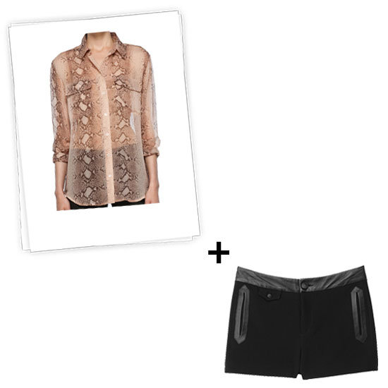 Tuck this snakeskin-printed blouse with an ultratailored shape on bottom. We chose a black leather-lined iteration, but your main strategy here is to keep it pared down because the exotic piece on top is statement enough. Get the look:   Equipment Signature Python Blouse in Nude ($218)  Rag & Bone Tatiana Short ($325)