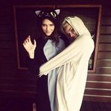 Australia's Next Top Model 2011 stars Montana Cox and Jess Bush wore cat suits at Splendour. Source: Instagram user montanacox1