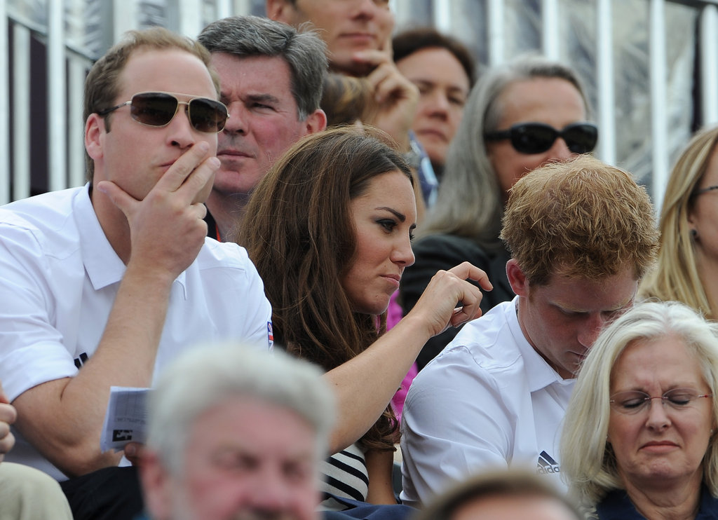 Prince William, Kate Middleton, and Prince Harry watched Zara Phillips compete during day four of the Olympics.