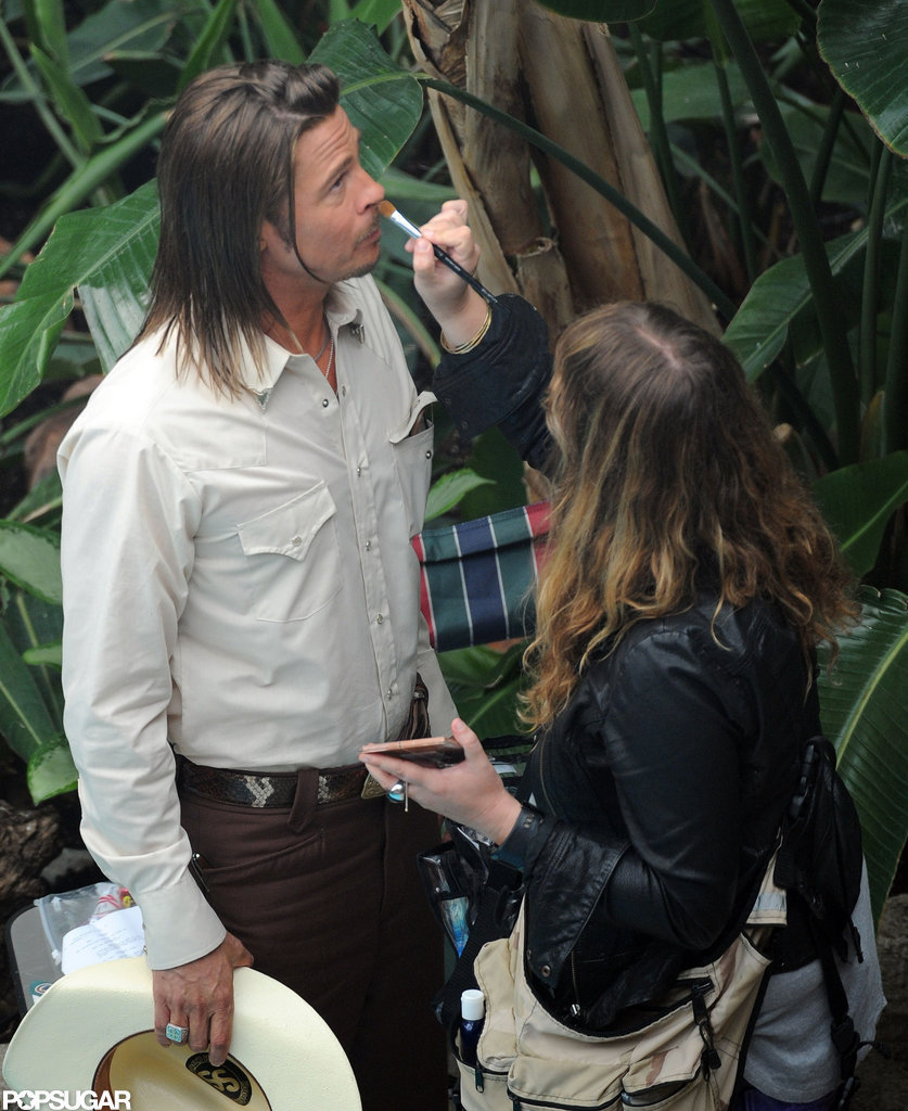 Brad Pitt got a few touch-ups on set.