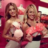 Bregje Heinen and Candice Swanepoel posed together during a Victoria's Secret in-store event. Source: Instagram user victoriassecret