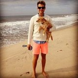 Brad Goreski took his rescue dog, Penelope, to the beach in August 2012. Source: Instagram user mrbradgoreski