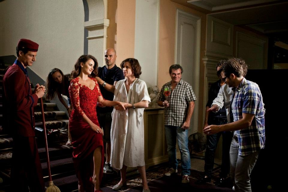 Penélope Cruz wore a red Marchesa dress on the set of Campari's 2013 calendar shoot. Source: Facebook user Campari