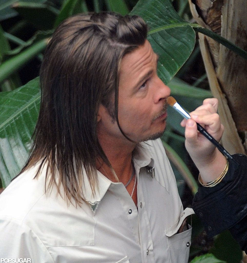 Brad Pitt got touched up on the set of his lastest film.
