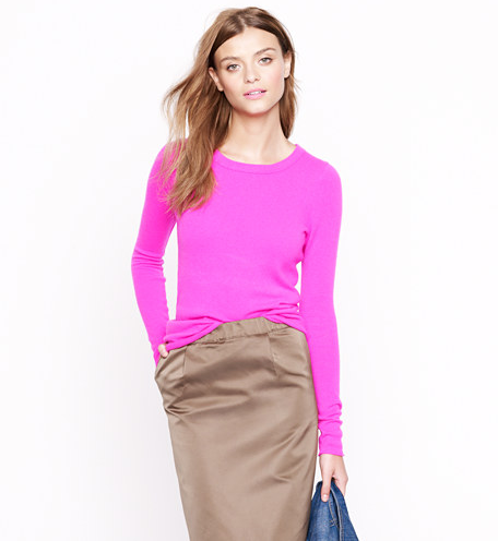 "These cashmere ""tees"" will become a staple in our closet. In bold hues, like this flash of pink, they're the perfect combination of wow-factor color and an easy silhouette.  J.Crew Collection Cashmere Long-Sleeve Tee ($188)"